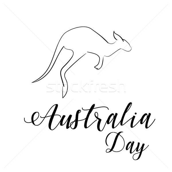 澳大利亚 天 袋鼠 孤立 手工绘制 商业照片 user_11397493