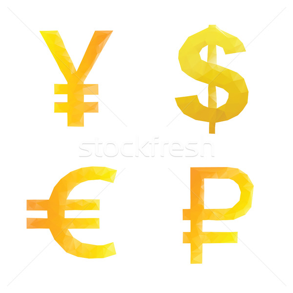 Polygonal ruble yen dollar euro signs Stock photo © user_11397493
