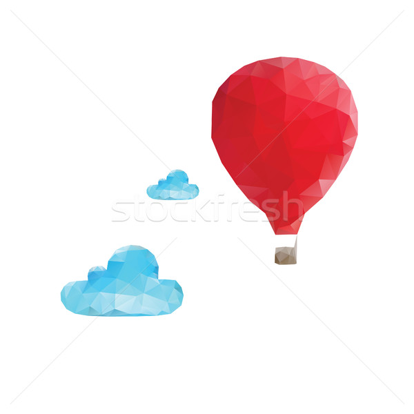 Mosaic hot balloon with clouds Stock photo © user_11397493