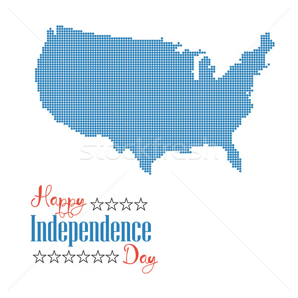 Happy independence day card. Dotted map united states of america Stock photo © user_11397493