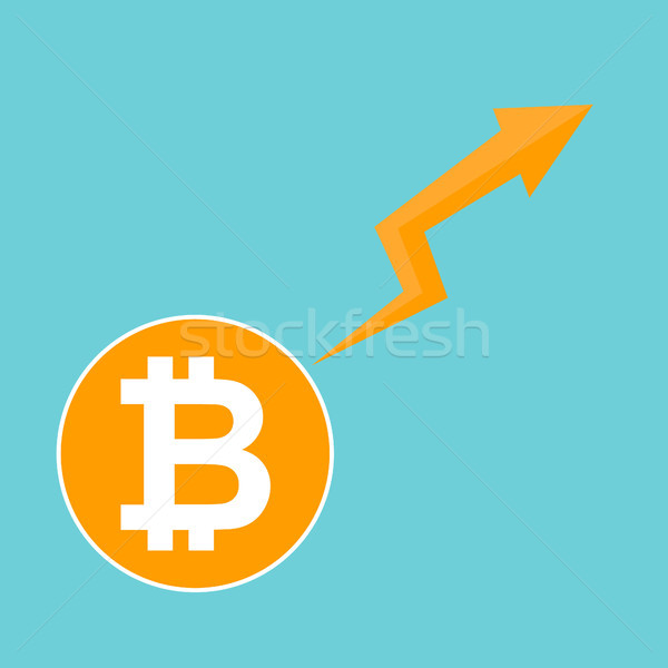 Bitcoin symbol. Cryptocurrency market trend on blue background Stock photo © user_11397493