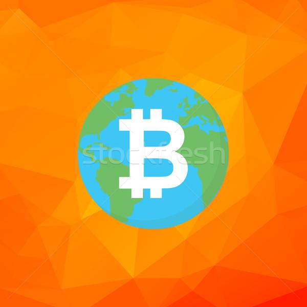 Bitcoin segno terra vettore digitale successo Foto d'archivio © user_11397493