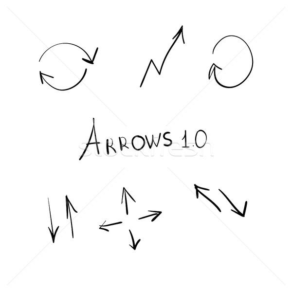 Kézzel rajzolt nyilak izolált kéz terv toll Stock fotó © user_11397493