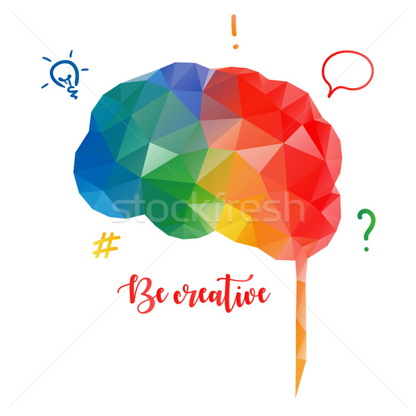 Colorato cervello umano basso stile creativo isolato Foto d'archivio © user_11397493