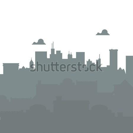 Foto d'archivio: Città · panorama · silhouette · urbana · nubi · isolato