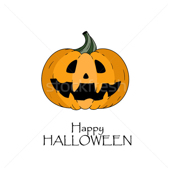 Happy halloween concept. Pumkin with scary face and lettering Stock photo © user_11397493