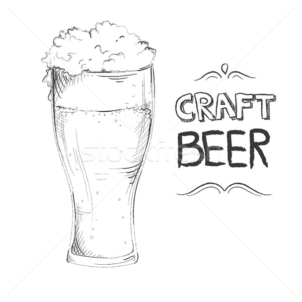 Craft beer hand drawn with lettering Stock photo © user_11397493