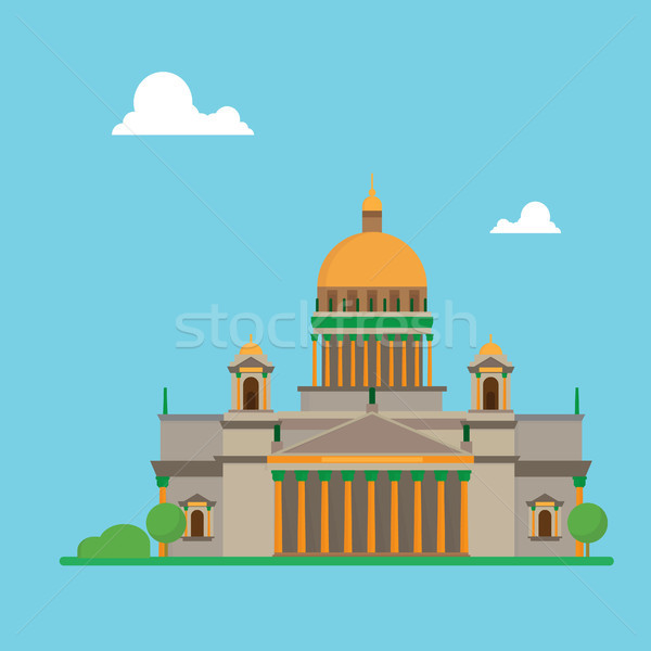 Saint Petersburg flat design Isaac cathedral with clouds Stock photo © user_11397493