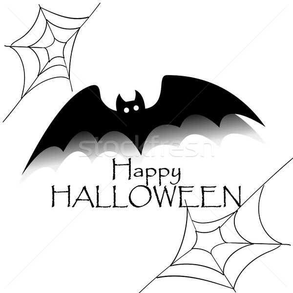Happy halloween concept. Black bat with text and spider net. Party scary banner Stock photo © user_11397493