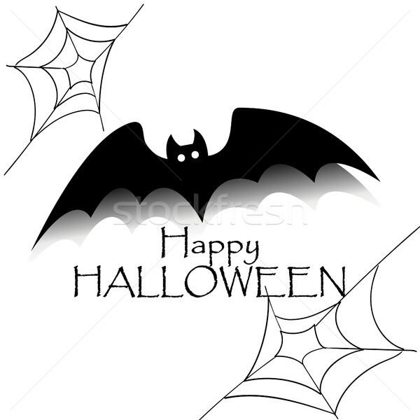 Feliz halloween preto bat texto aranha Foto stock © user_11397493