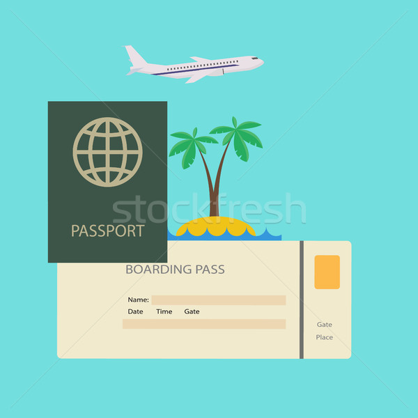 Journey concept. Travel passport with ticket tropical resort Stock photo © user_11397493