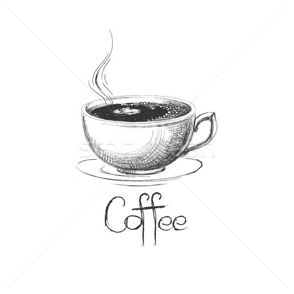 手描き ホット コーヒーカップ 手 カフェ ヴィンテージ ストックフォト © user_11397493