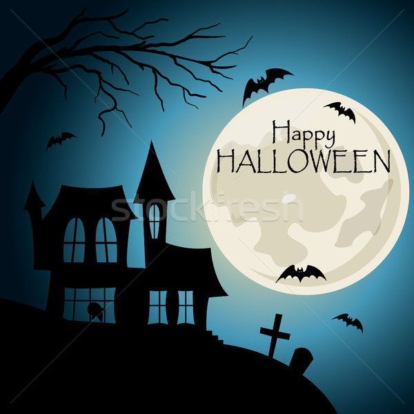 Happy halloween post card. House with cemetery silhouette with bats and lettering Stock photo © user_11397493