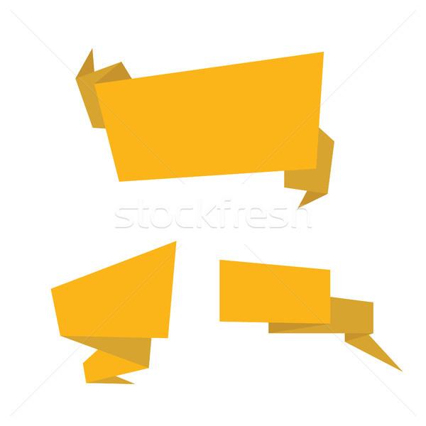Arany szalagok izolált gyűjtemény citromsárga sablon Stock fotó © user_11397493
