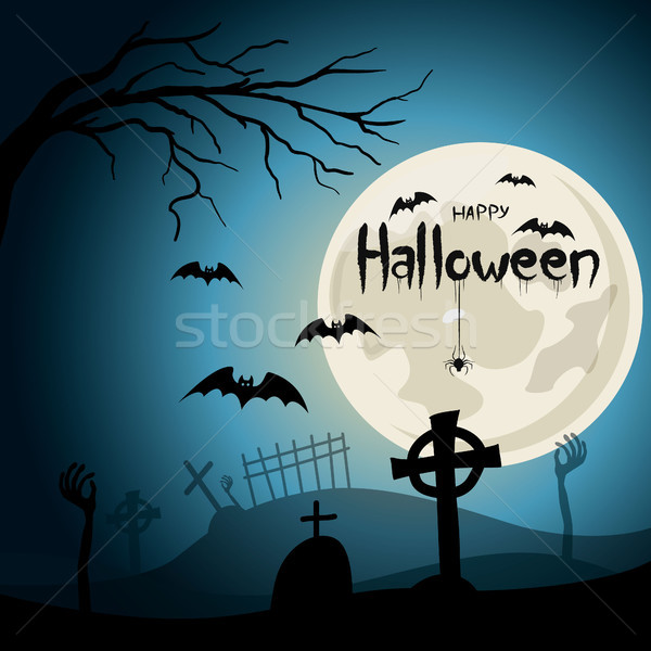 Halloween background. Graveyard with crosses and zombie hands at nigth. Stock photo © user_11397493