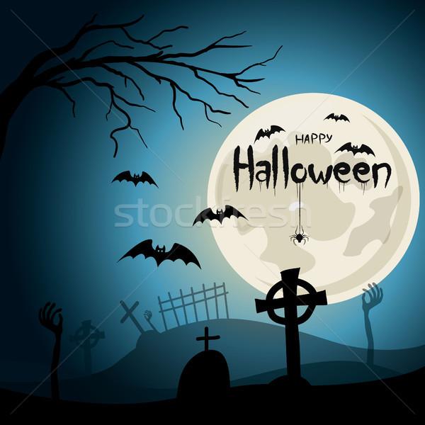 Halloween cmentarz krzyże zombie ręce pełnia księżyca Zdjęcia stock © user_11397493