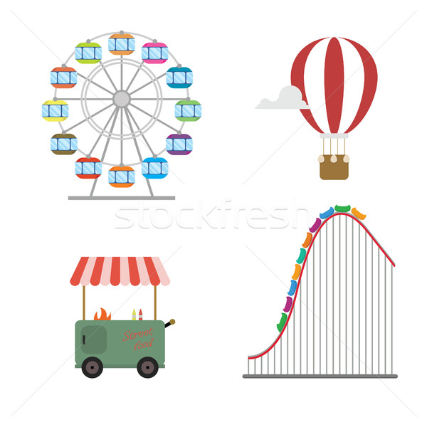Amusement park concept. Roller coaster, hot balloon, wheel, street food Stock photo © user_11397493