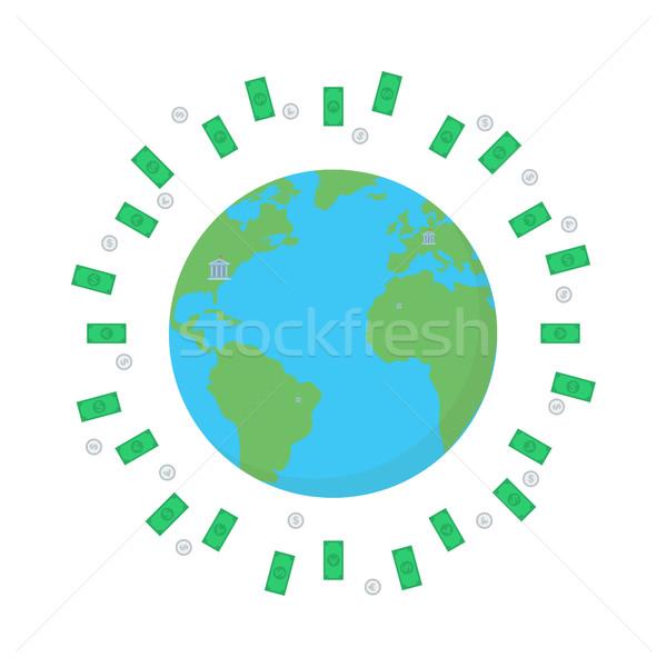 Pénzügy bolygó üzlet Föld izolált dollár Stock fotó © user_11397493