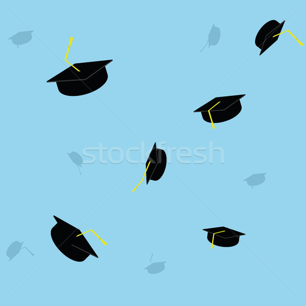 Graduation cap throwing background. Finish education college school university Stock photo © user_11397493