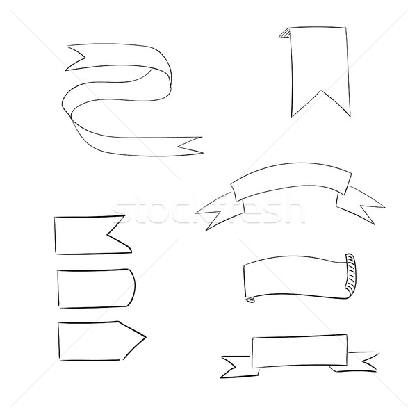 Hand drawn ribbon set Stock photo © user_11397493