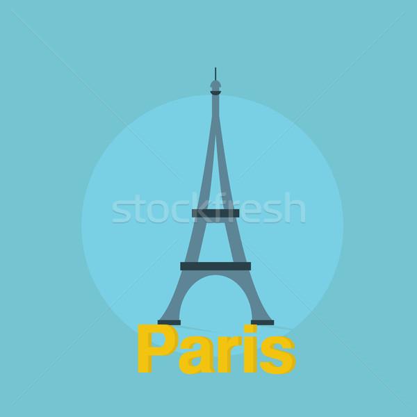 Eiffel torre design testo ombra colorato Foto d'archivio © user_11397493