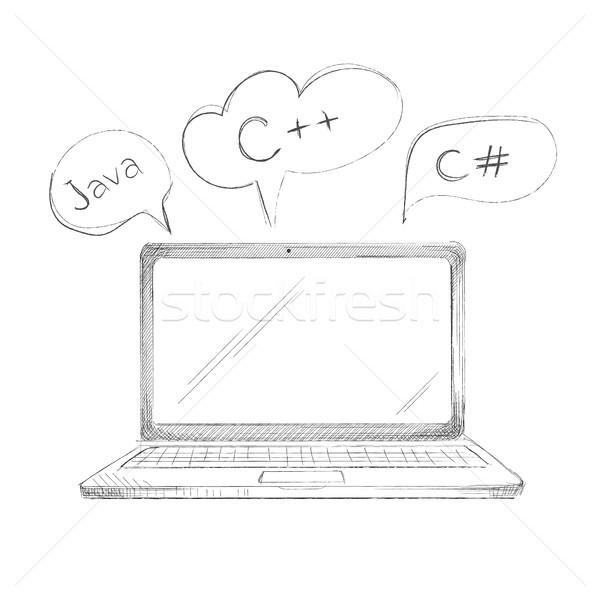 手工绘制 编程 语 笔记本电脑 java的 商业照片 user_11397493