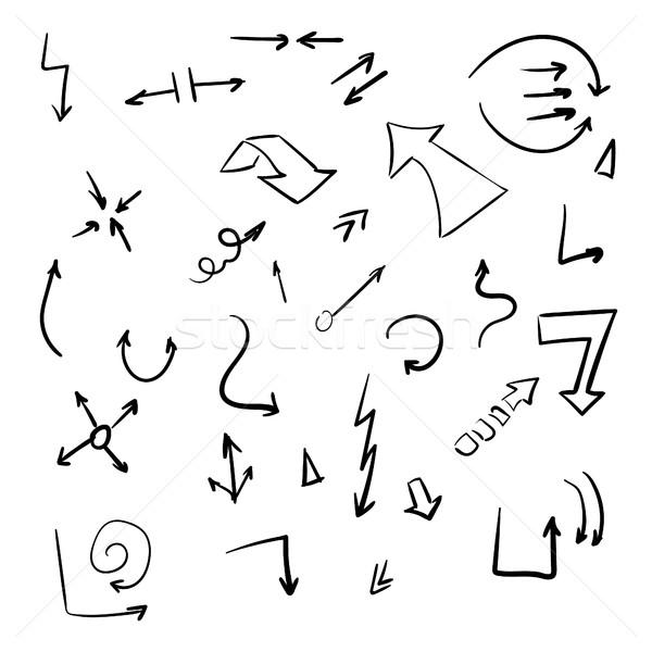 Nyilak rajz izolált kézzel rajzolt fehér terv Stock fotó © user_11397493