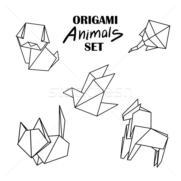 Origami animals set. Animals from paper snake, dog, horse, cat, bird, fox Stock photo © user_11397493