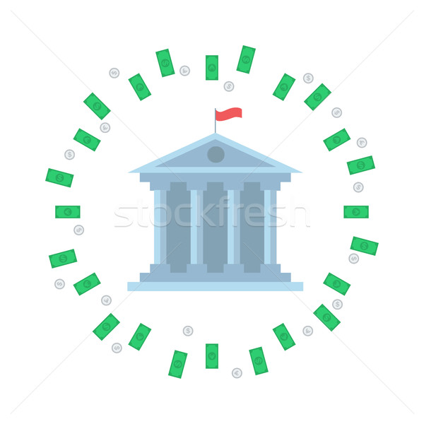 Investing concept. Bank with green dollar bills circle Stock photo © user_11397493