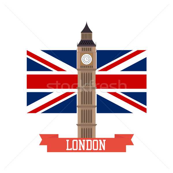 London concept. Big ben flat design with england flag Stock photo © user_11397493
