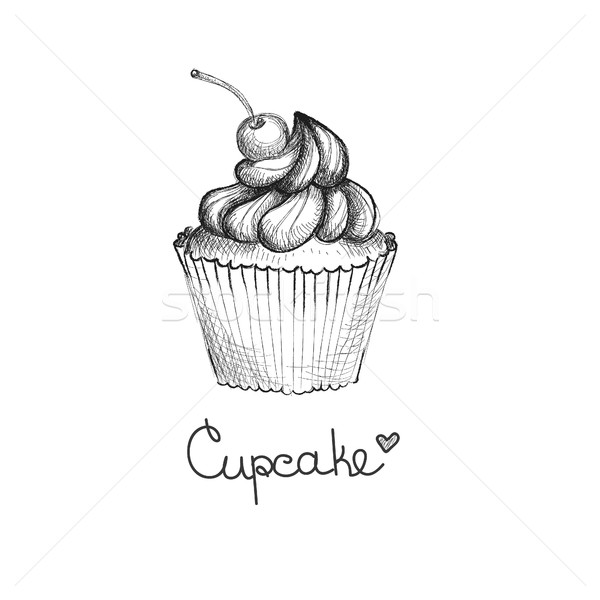 Hand drawn cupcake with cherry Stock photo © user_11397493