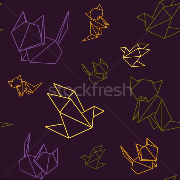 Origami animali colorato pattern Fox uccello Foto d'archivio © user_11397493