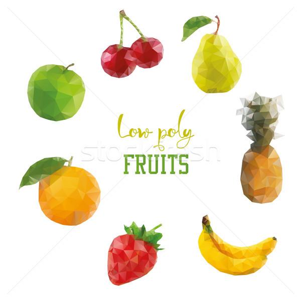 Basso stile frutti ciliegio mela banana Foto d'archivio © user_11397493