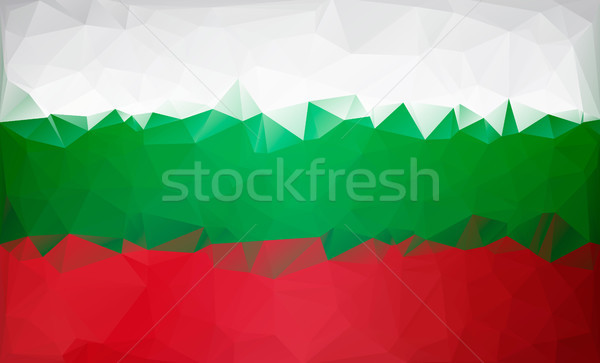 Stock photo: Bulgarian flag low poly. White green red flag