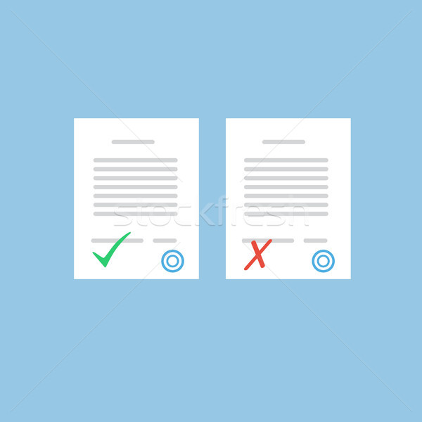Document approve or not approve. Flat form icons Stock photo © user_11397493