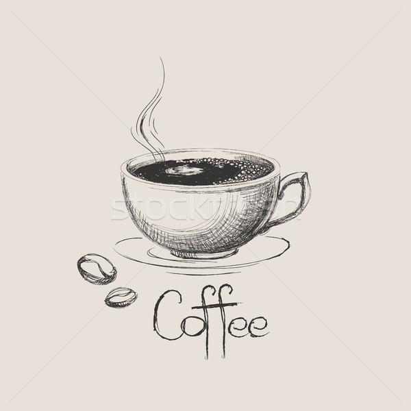 Kézzel rajzolt kávéscsésze bab izolált étel terv Stock fotó © user_11397493