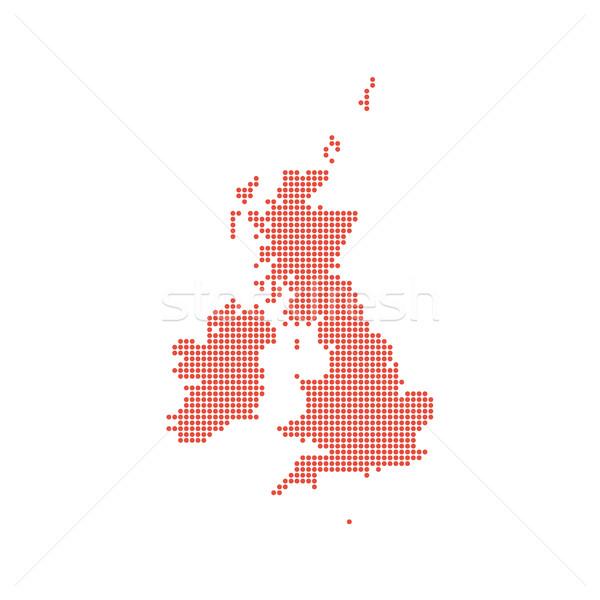 ストックフォト: 王国 · 点在 · 地図 · 孤立した · 赤 · 国境