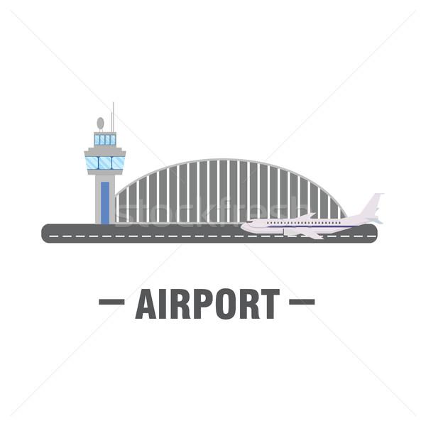 Repülőtér terv torony repülőgép üzlet égbolt Stock fotó © user_11397493