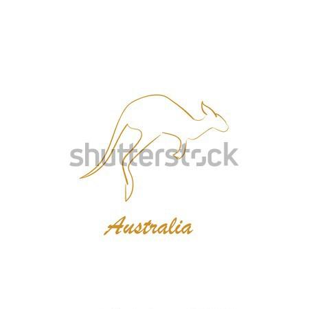 Izolált kenguru kézzel rajzolt forma ugrás fekete Stock fotó © user_11397493