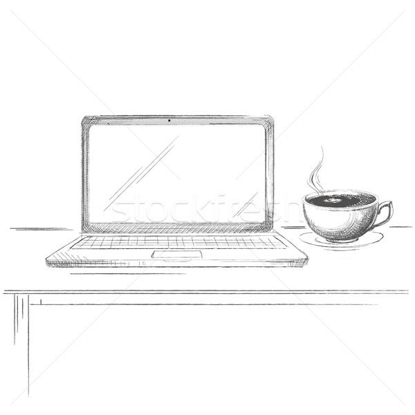 Kézzel rajzolt laptop kávé rajz asztal izolált Stock fotó © user_11397493