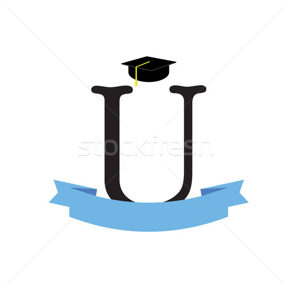 Diplômé chapeau Université logo graduation ruban Photo stock © user_11397493