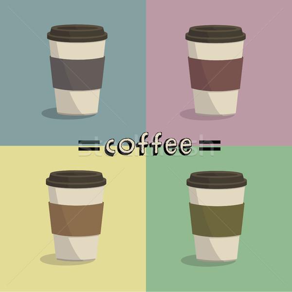 コーヒー カラフル 紙 愛 ドリンク カフェ ストックフォト © user_11397493