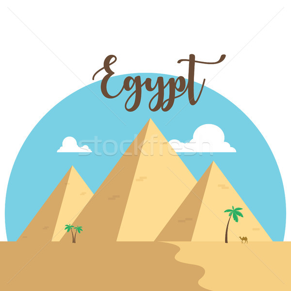Egypt flat design pyramids. Desert famous ancient camel palms Stock photo © user_11397493