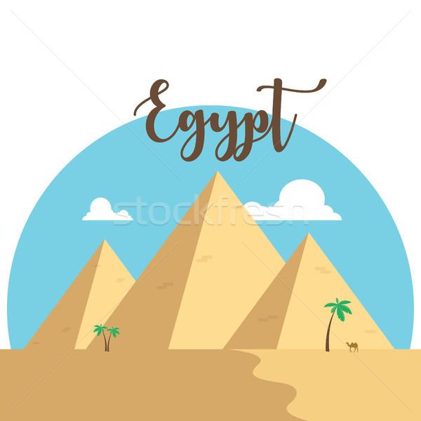 Design piramidi deserto noto antica cammello Foto d'archivio © user_11397493