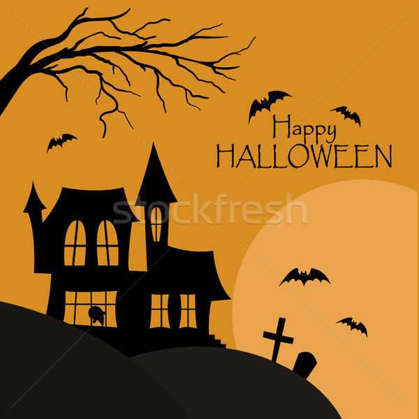 Happy halloween post card. House with cemetery silhouette with bats Stock photo © user_11397493