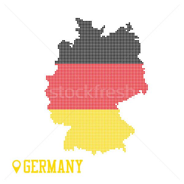 Foto d'archivio: Germania · punteggiata · mappa · colorato · bandiera · nazione
