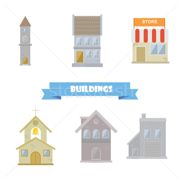 Buildings collection. Flat design Stock photo © user_11397493