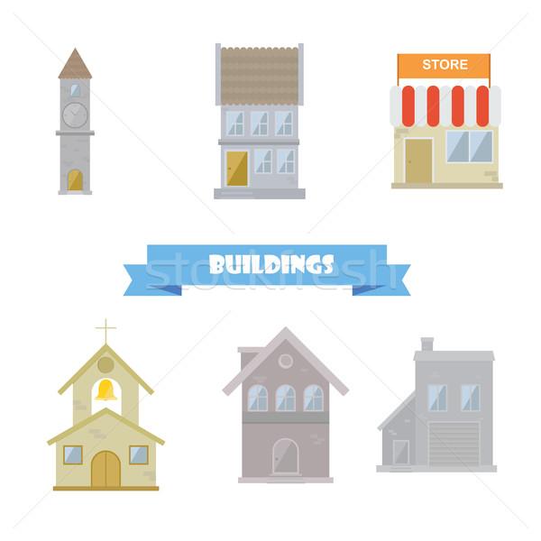 épületek gyűjtemény terv szett házak épület Stock fotó © user_11397493