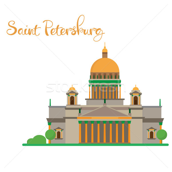 Saint Petersburg flat design Isaac cathedral with lettering Stock photo © user_11397493