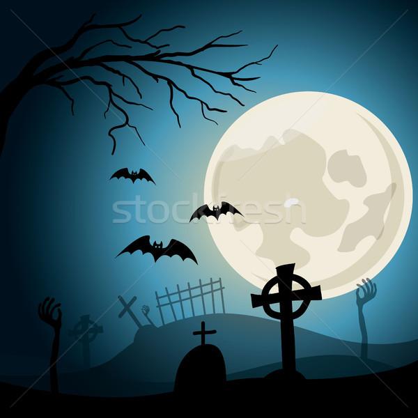 Halloween cimitero attraversa zombie mani luna piena Foto d'archivio © user_11397493